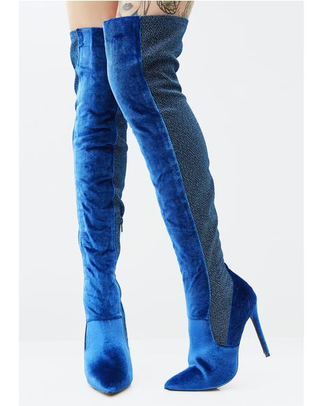 Azure Goddess Among Us Thigh-High Boots