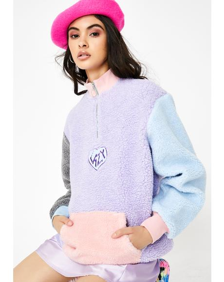 Pastel Panel Color Block Fleece Pullover