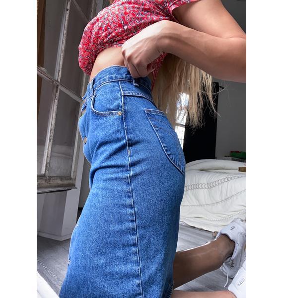 Rollas Ashley Blue High Pencil Skirt