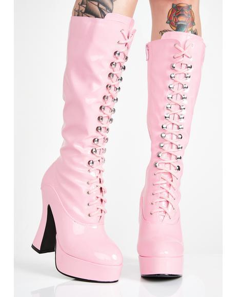 Candy Beverly Heels Baddie Platform Boots