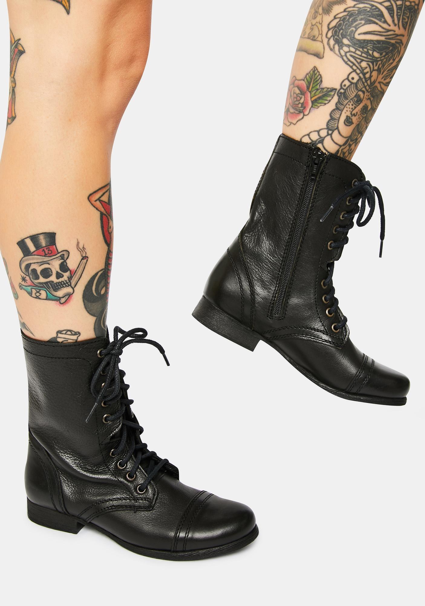 Steve Madden Troopa Black Leather Combat Boots