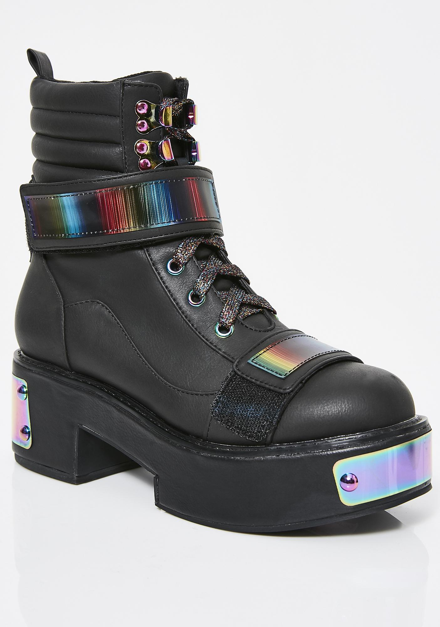 Club Exx Dark Rainbow Anodized Boots