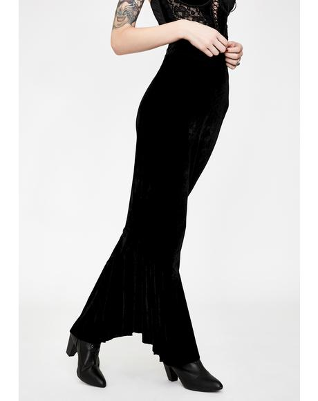 Keres Velvet Fishtail Skirt