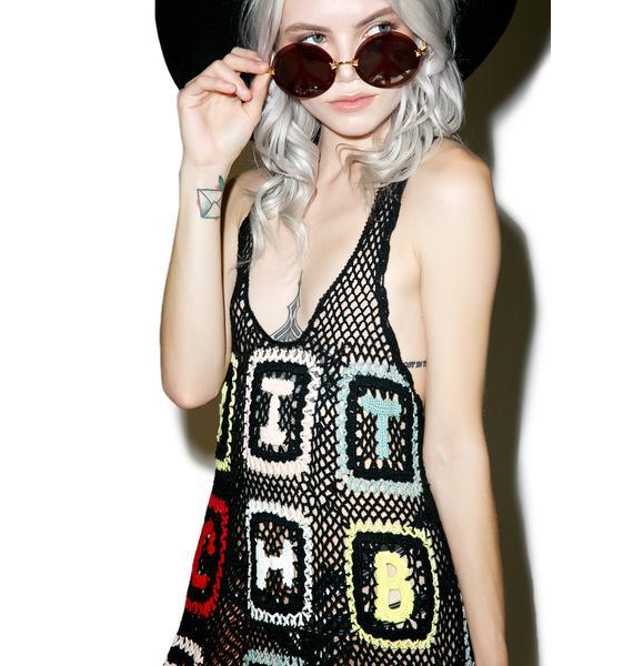 Wildfox Couture Bitch Granny Sabrina Crochet Dress