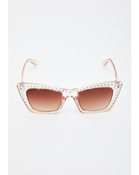 Clearly Something's Gotta Give Rhinestone Sunglasses