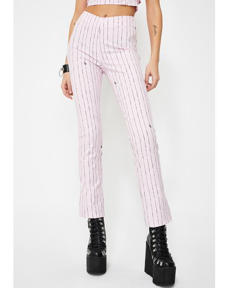 Pink Dominique Pinstripe Pants