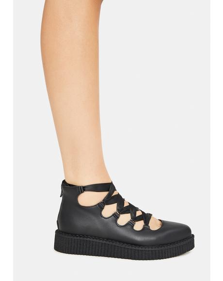 Black 5-Loop Mary Jane Creepers