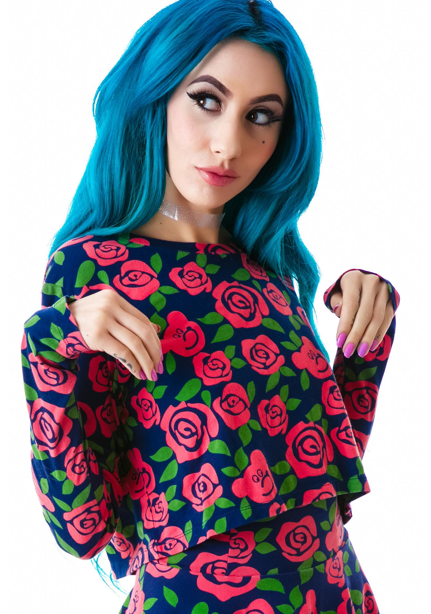 Lazy Oaf Dead Head Crop Long Sleeve Top