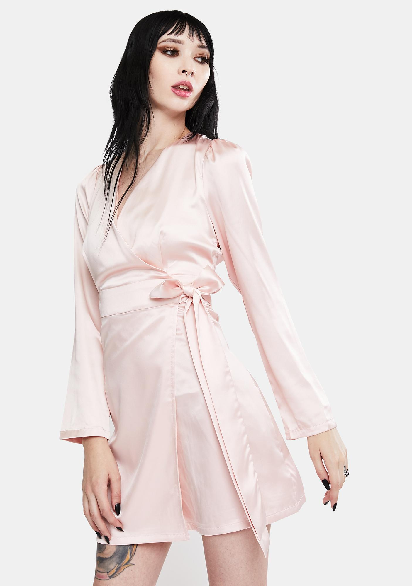 Glamorous Pale Pink Satin Wrap Dress