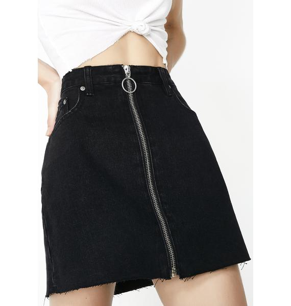 Neon Blonde Chaser Zip Skirt