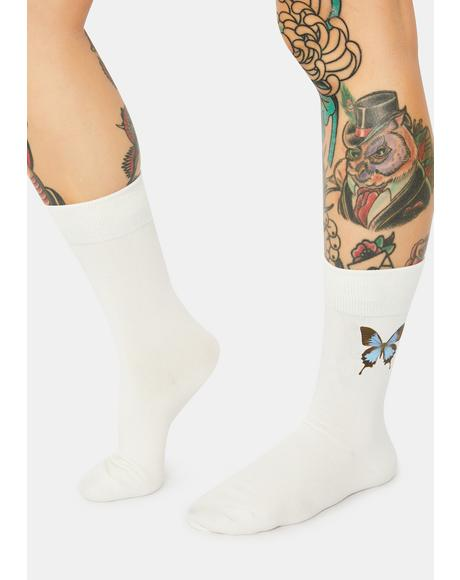 Fantasmic Skies Butterfly Crew Socks