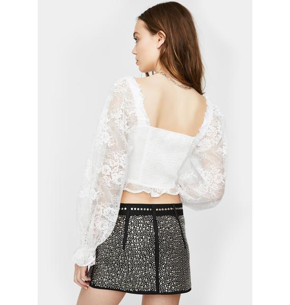 For Love & Lemons Cheyenne Lace Bustier Top