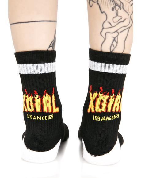 Black Flame Logo Socks