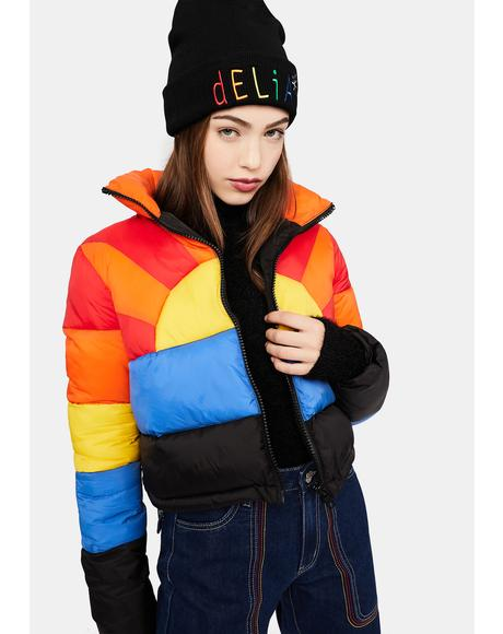 Sweet Retreat Rainbow Puffer Jacket