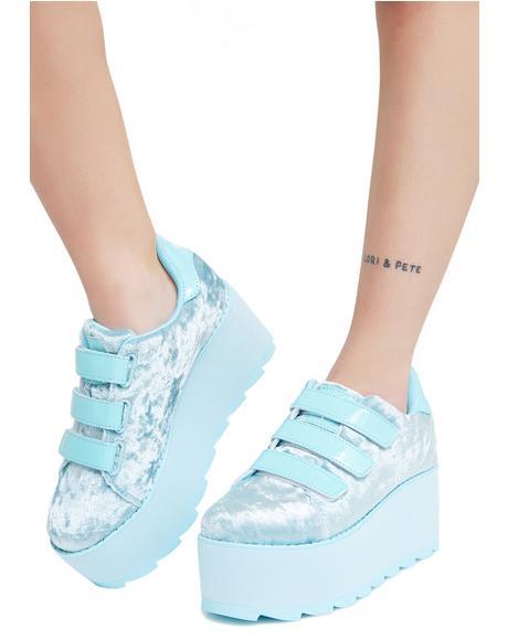 Lala Velvet Velcro Platform Sneakers