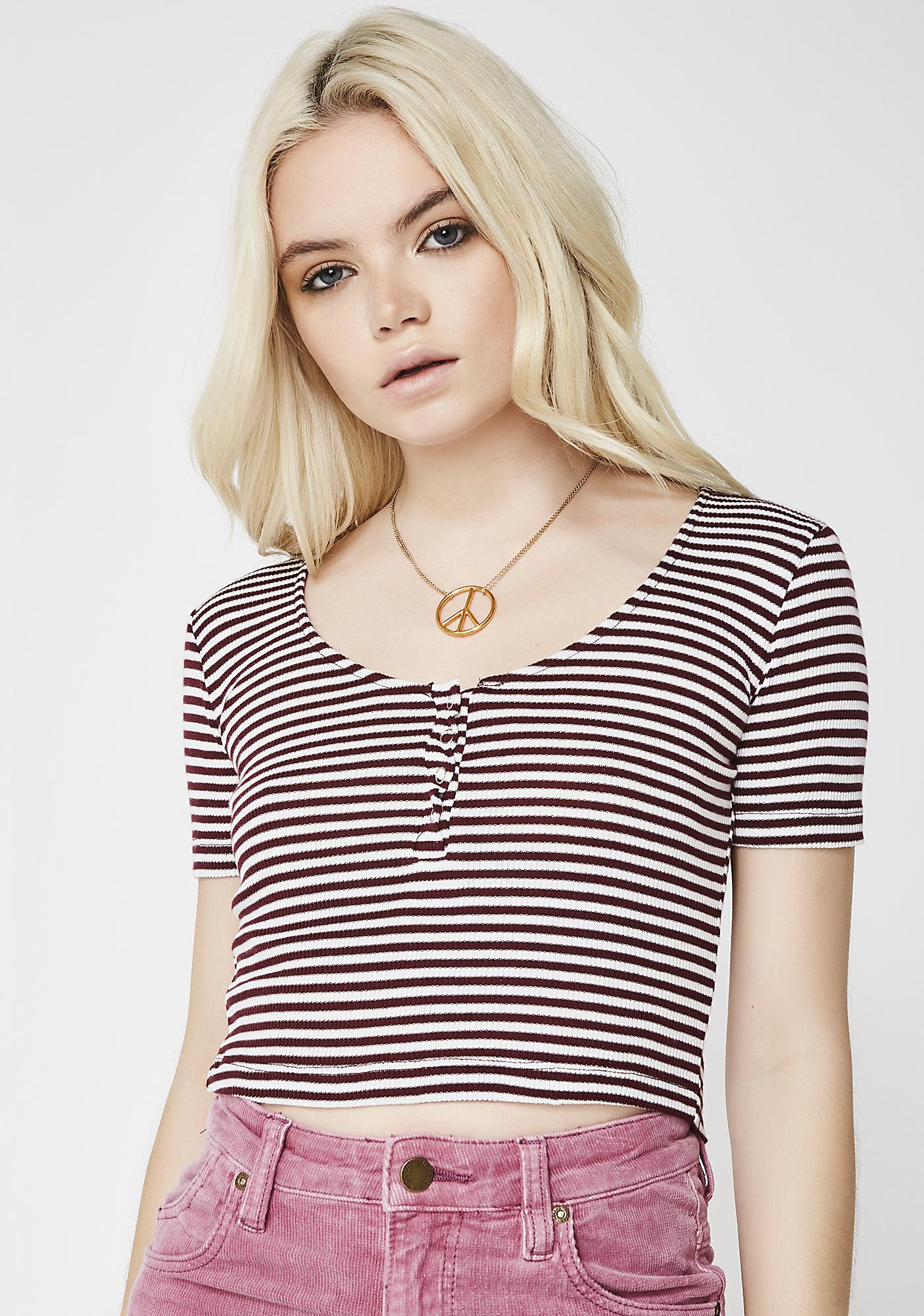 Wine Nothin' To It Striped Crop Top