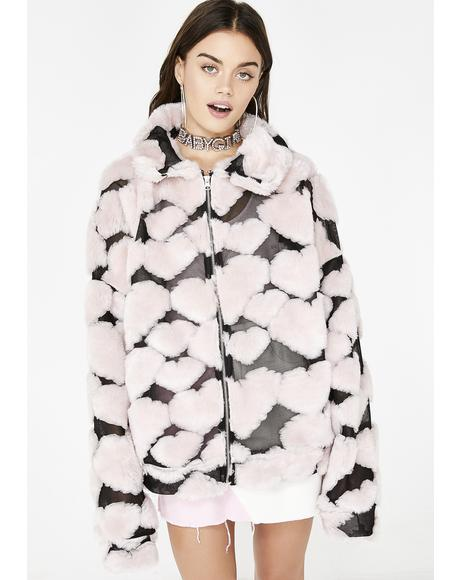 Oversized Heart Fleece Jacket