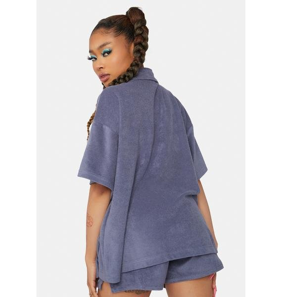 Navy Quiet Time Fuzzy Button Up And Shorts Set