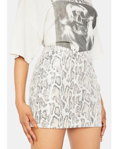 Ecru Poison Snakeskin Mini Skirt