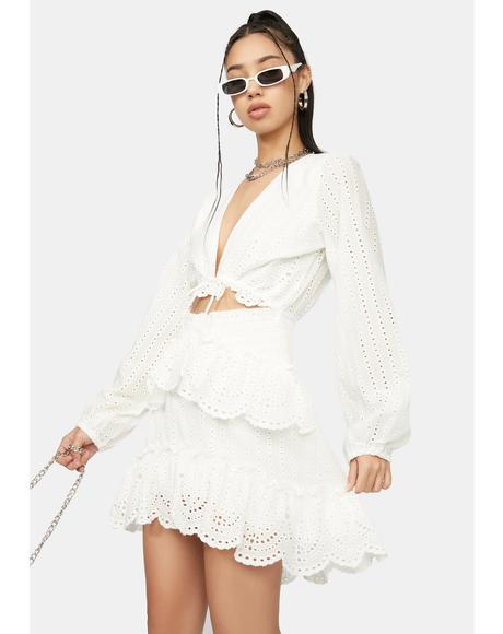 Love Me Longer Eyelet Ruffle Mini Dress