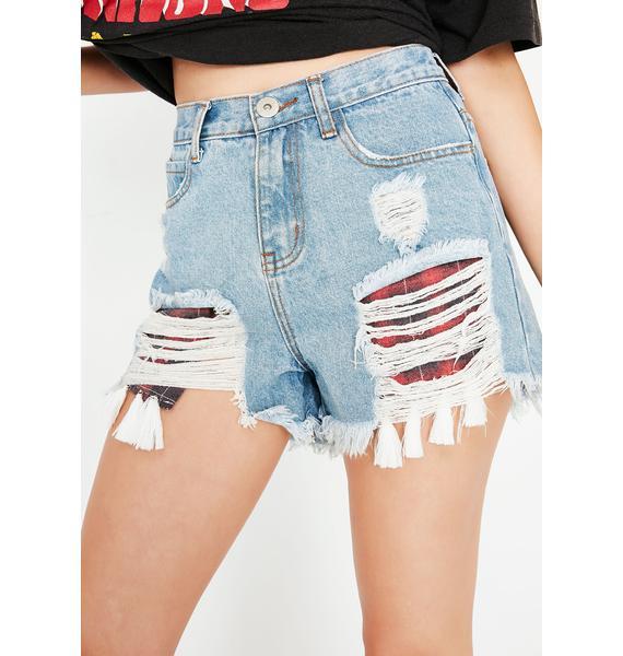 On The Fringe Denim Shorts