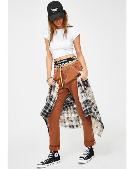 Brown Slim Carpenter Pants