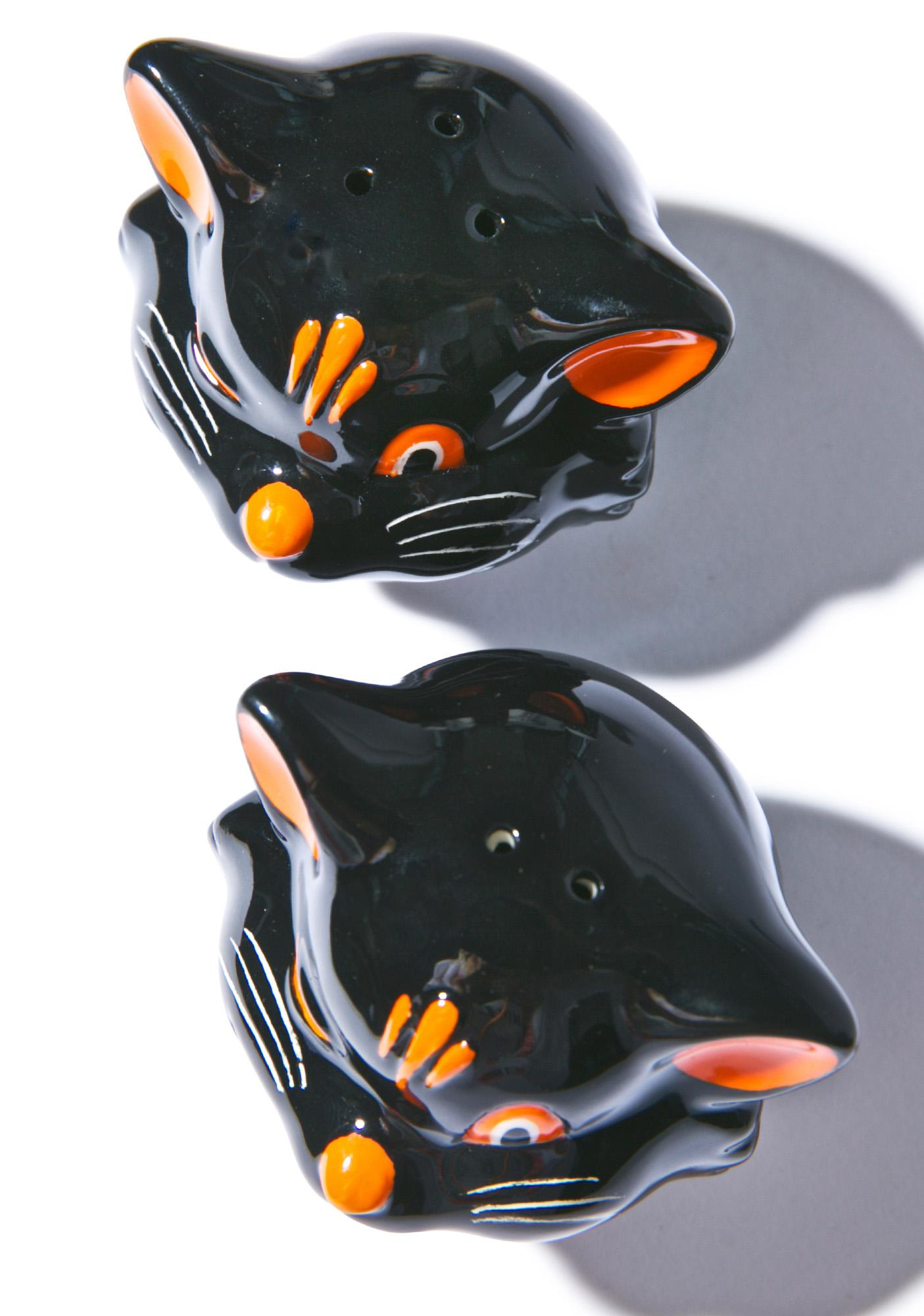 Sourpuss Clothing Black Cats Salt and Pepper Shaker