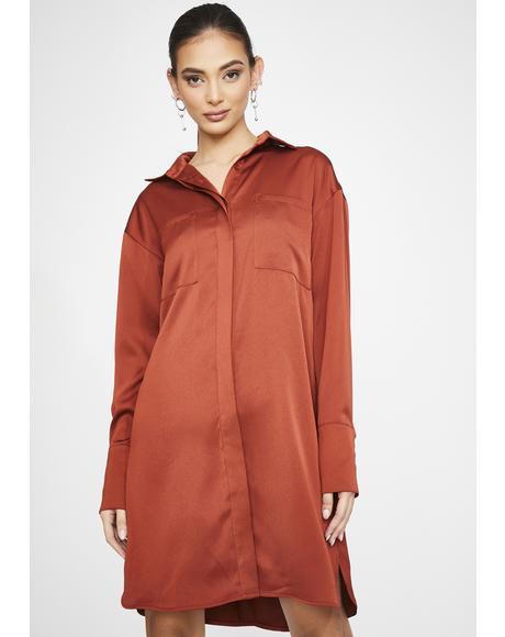 Rust Satin Shirt Dress