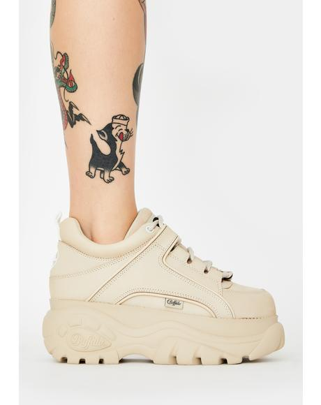 Cream Classic Low Leather Sneakers