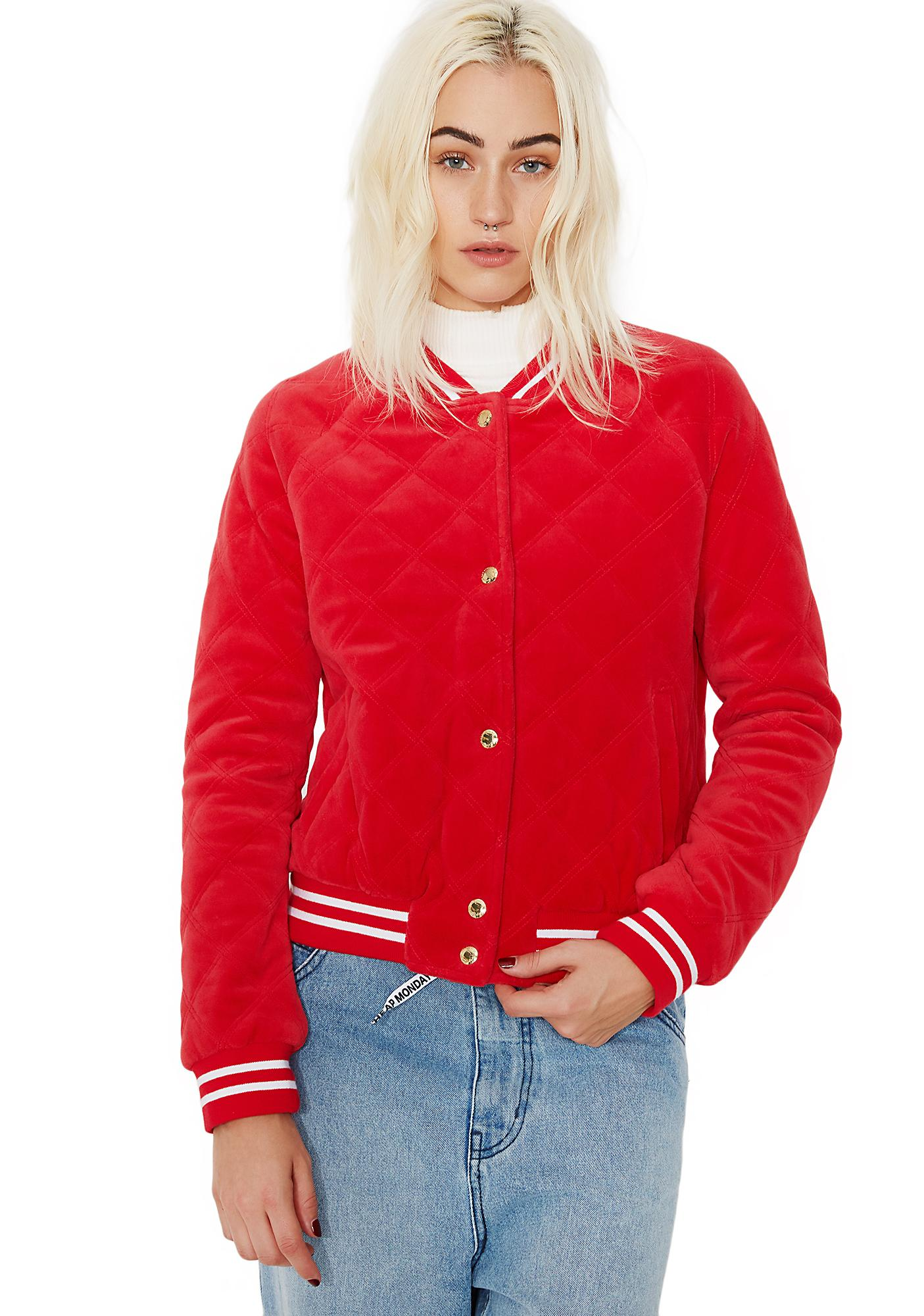 JUICY COUTURE Track Velour Solid Quilted Bomber Jacket