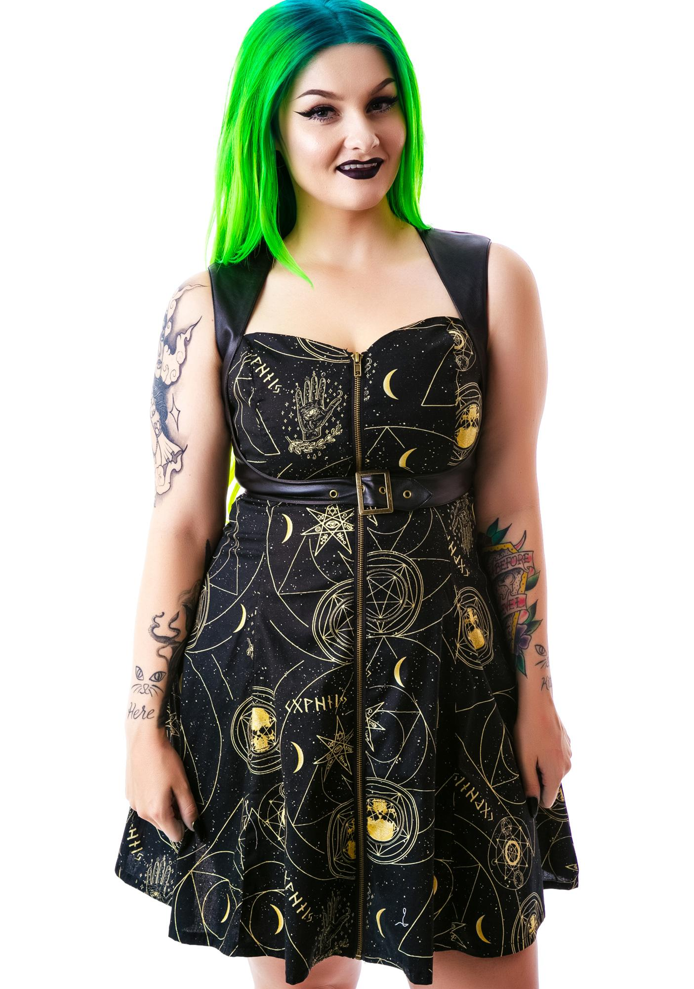 Hell Bunny Pentagram Constellations Belted Mini Dress