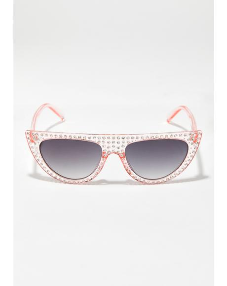 Blush Cold Frost Jeweled Sunglasses