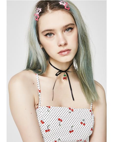 Cherry Charming Tie Choker