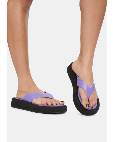 Lilac Enjoy The Ride Platform Sandals