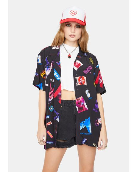 x Playboy Collage Woven Button Up Shirt