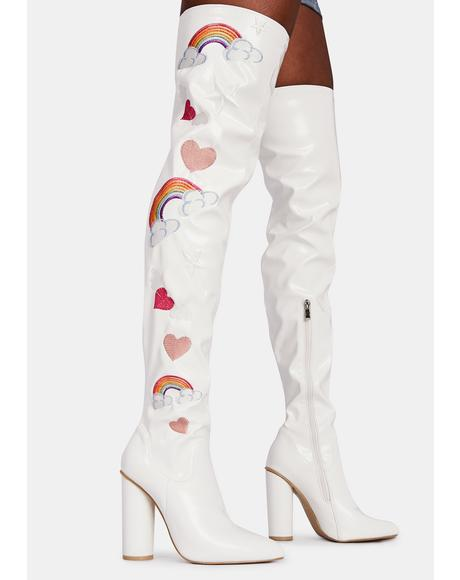 Rainbow Heart Thigh High Boots