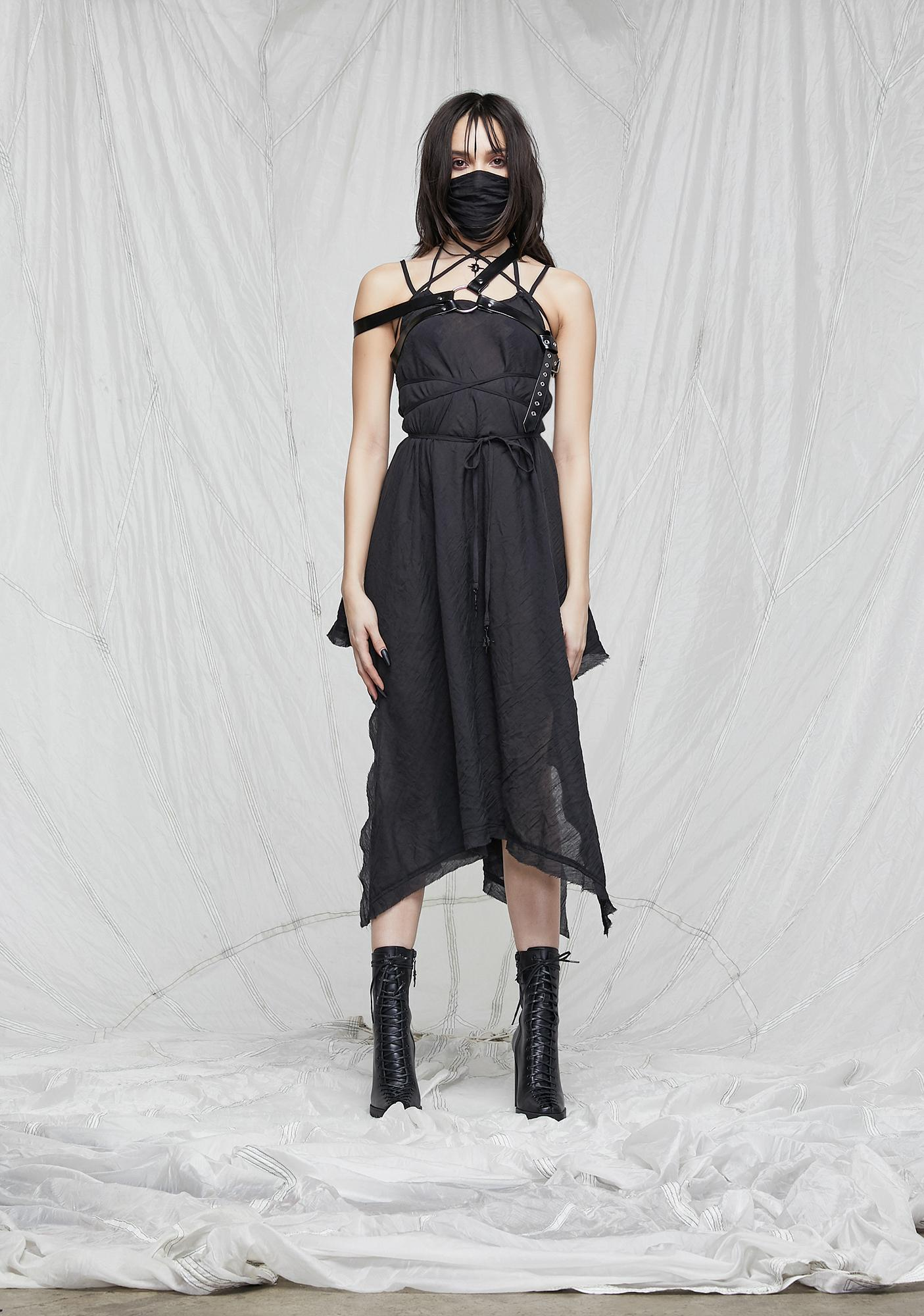 DARKER WAVS Synth Spaghetti Strap Gauze Tunic Dress
