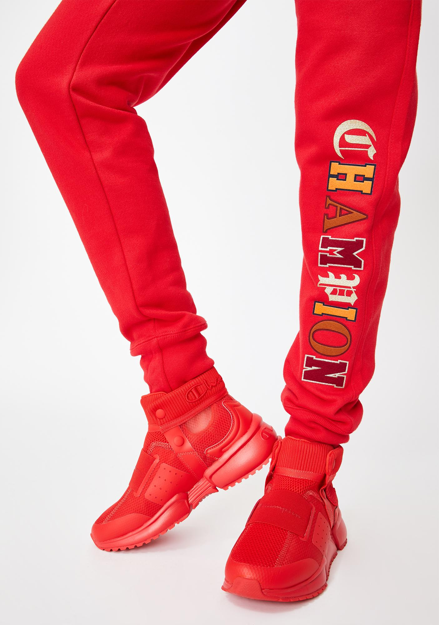 Champion Red Scarlett Old English Reverse Weave Joggers