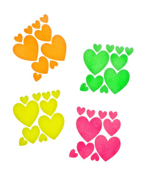 Heart Blacklight Body Stickers