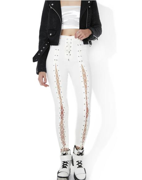 White Hott Lace-Up Skinny Jeans