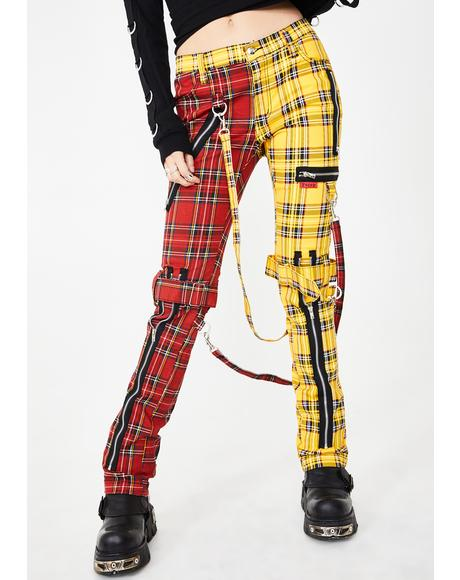 Split Leg Plaid Bondage Pants