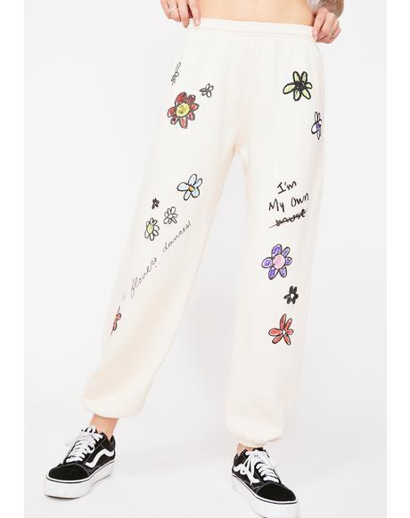 X Dessie Jackson Flower Power Sweatpants