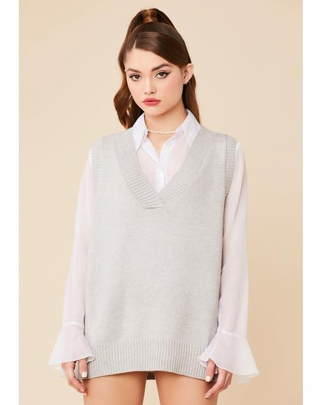 Cloudy Posh Plans Oversized Sweater Vest