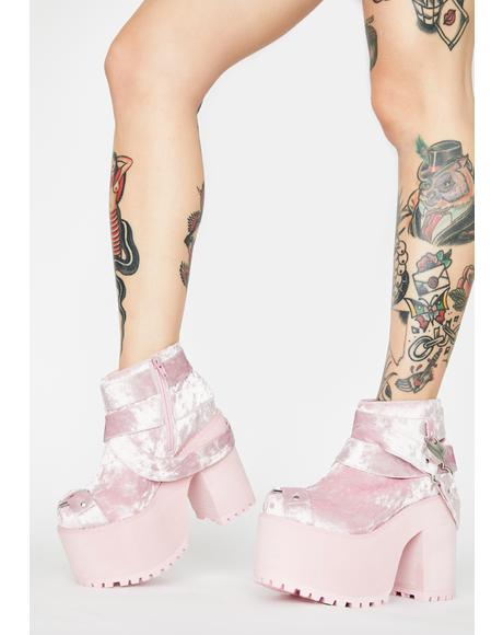 Pink Velvet Cherish Heart Platform Boots