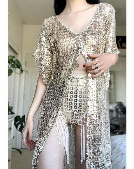 Gold Squares Medusa Sequin Duster