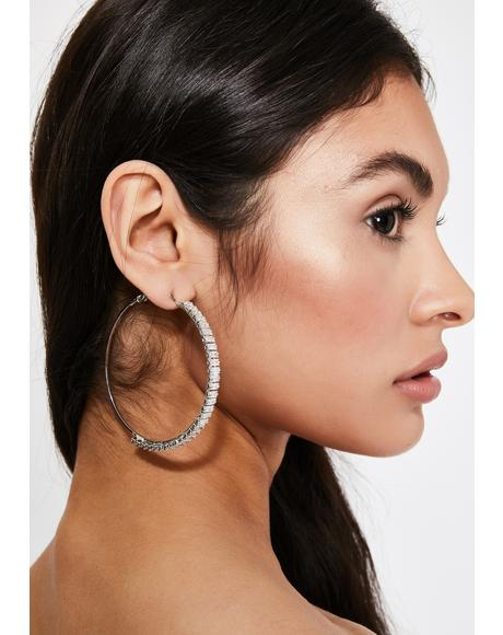 Designer Bling Hoop Earrings