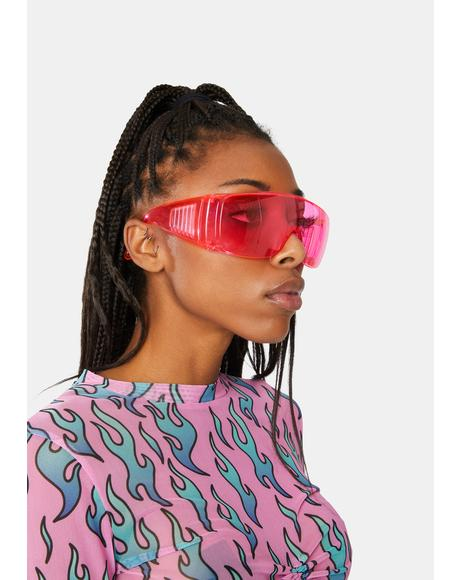 Fuchsia Pass The Test Shield Sunglasses