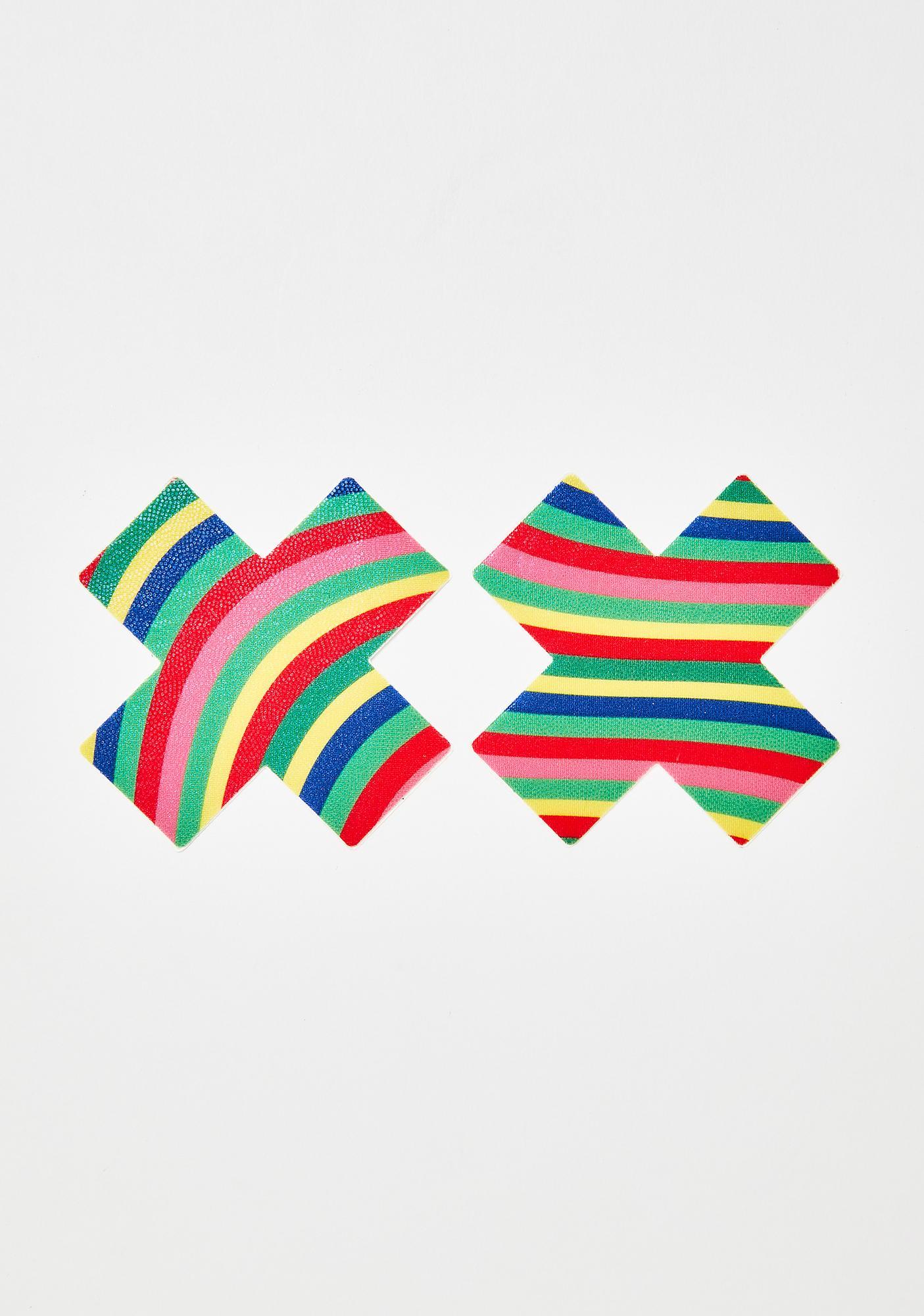 Pastease Rainbow Wave Cross Pasties