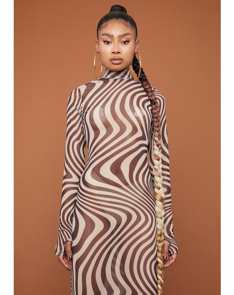 On My Wavelength Mesh Midi Dress