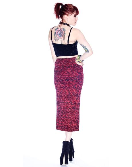 Evil Twin Burning Embers Knitted Midi Skirt